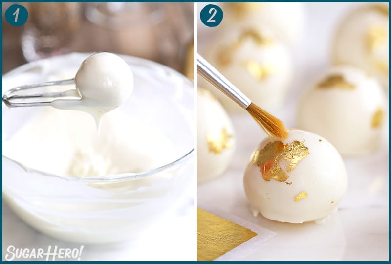 Two photo collage showing how to decorate Champagne White Chocolate Truffles