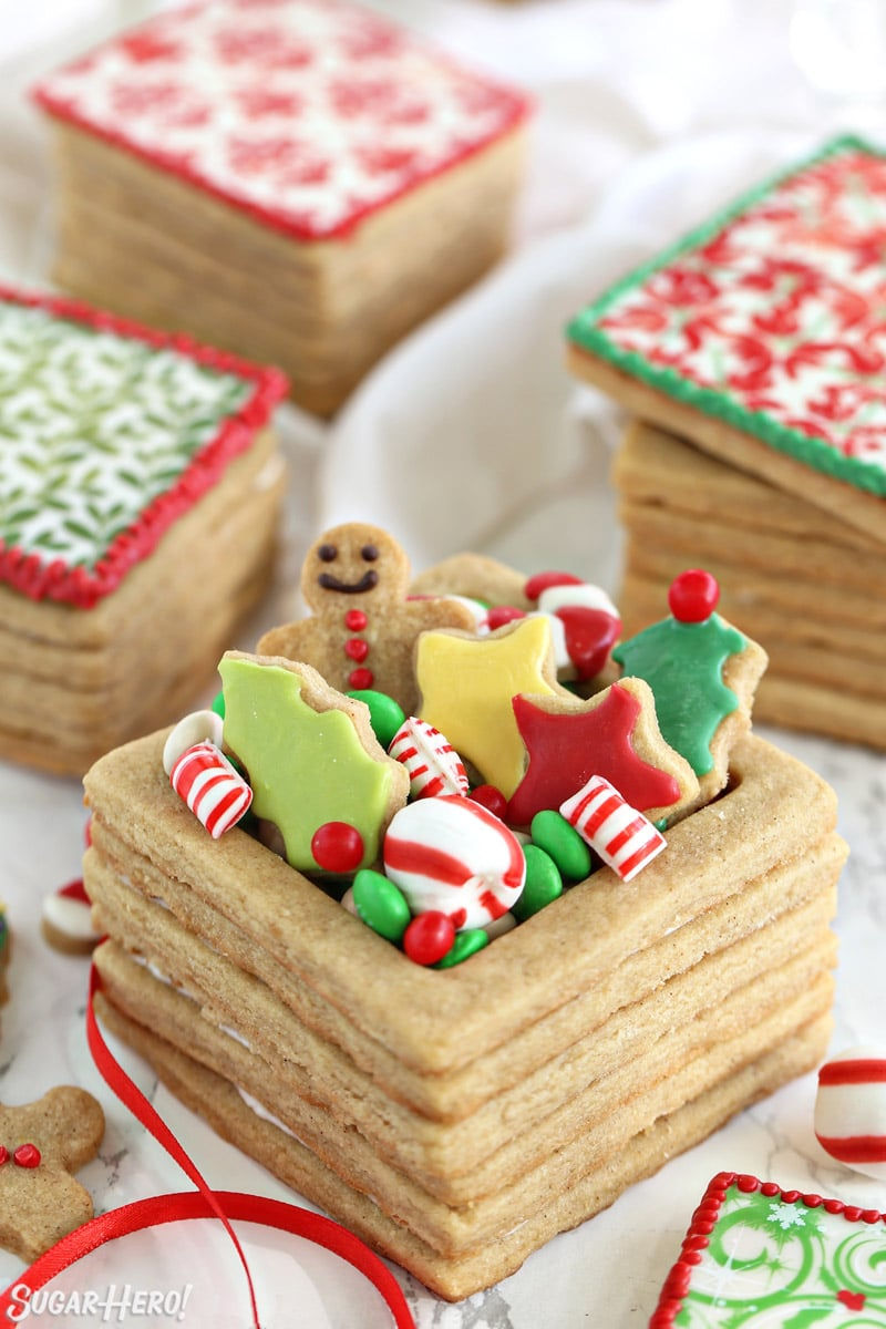 Close up of Edible Christmas Cookie Boxes with frosted cookies and candies overflowing from the top