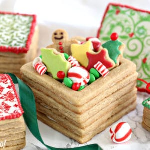 Close-up of Edible Christmas Cookie Box with cookies and candy inside