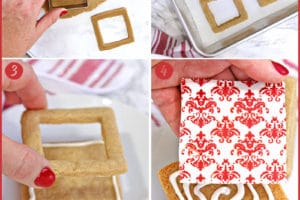 Six photo collage showing how to make Edible Christmas Cookie Boxes with text overlay for Pinterest