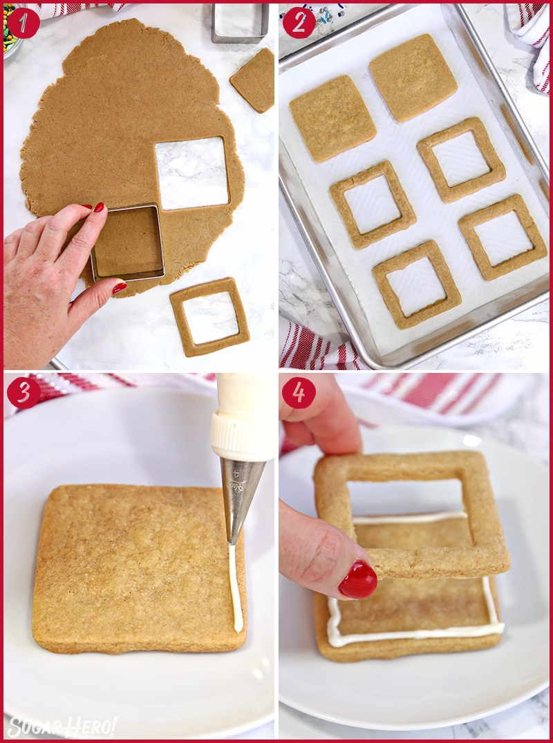 Four photo collage showing how to bake and assemble Edible Christmas Cookie Boxes
