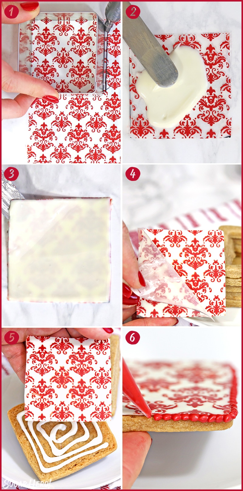 Six photo collage showing how to assemble and decorate Edible Christmas Cookie Boxes