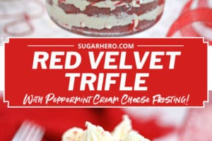 Collage of two Red Velvet Trifle pictures with text overlay for Pinterest