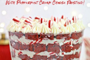 Red Velvet Trifle picture with text overlay for Pinterest