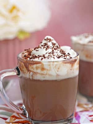 Slow Cooker Hot Chocolate in a glass mug with whipped cream on top