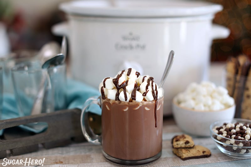 Slow Cooker Hot Chocolate with a slow cooker in the background