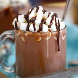 Slow Cooker Hot Chocolate in a glass mug with mini marshmallows on top