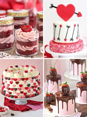 Collage of 4 Valentine's Day cakes