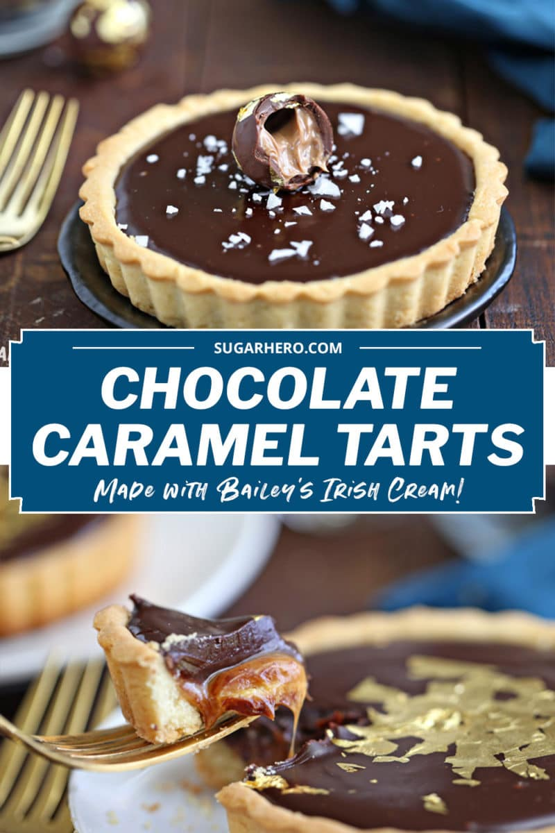 Two photo collage of Baileys Chocolate Caramel Tarts with text overlay for Pinterest