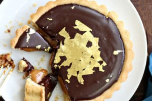 Photo of Baileys Chocolate Caramel Tarts with text overlay for Pinterest