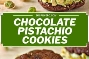 2-photo collage of Chocolate Pistachio Sandwich Cookies with text overlay for Pinterest