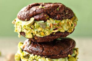Chocolate Pistachio Sandwich Cookie picture with text overlay for Pinterest