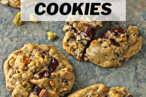 Pistachio Chocolate Chunk Cookies with text overlay for Pinterest