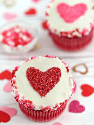 Sprinkle Heart Cupcakes with red sprinkle heart on top