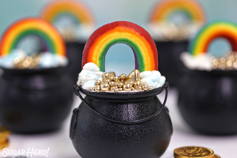 Buttercream Rainbows on top of Pot of Gold cupcake cups