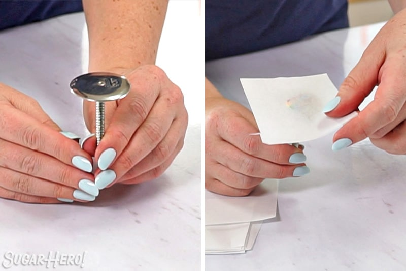 Two-photo collage showing placing a parchment square on a flower nail
