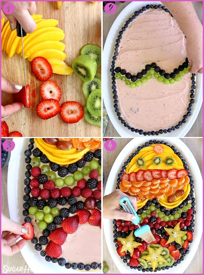 Four-photo collage showing steps to assemble and decorate fruit pizza