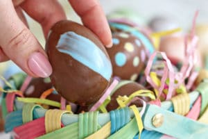 Peanut Butter Easter Eggs with text overlay for Pinterest