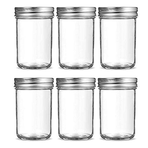 Six 8 ounce mason jars
