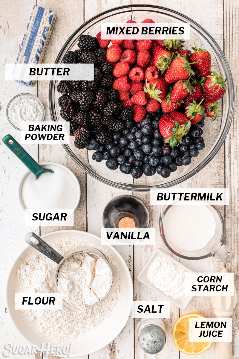Overhead shot of ingredients used to make berry cobbler