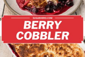 Two photo collage of Picture of Mixed Berry Cobbler for Pinterest