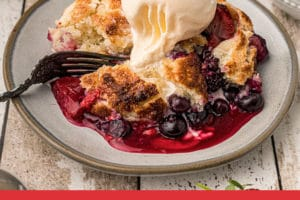 Picture of Mixed Berry Cobbler with text overlay for Pinterest
