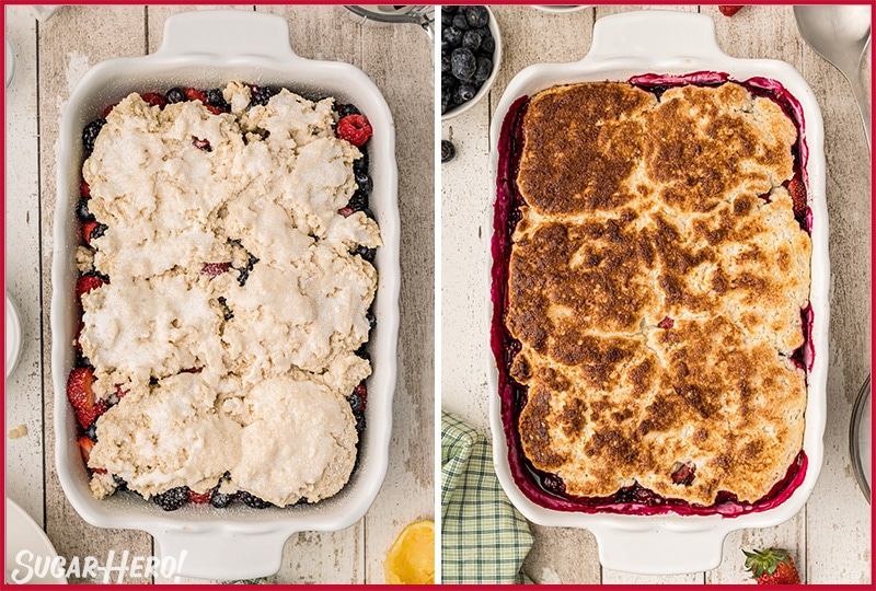 Two photo collage showing how to prepare and bake Mixed Berry Cobbler