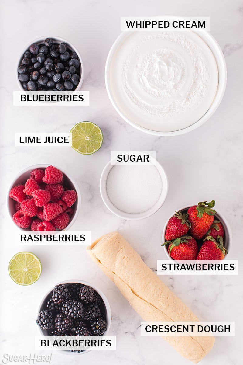 Overhead shot of ingredients needed for Berry Shortcake in a Jar