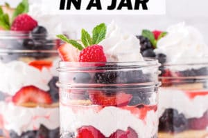 Photo of Berry Shortcake in a Jar with text overlay for Pinterest
