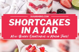 Two-photo collage of Berry Shortcake in a Jar with text overlay for Pinterest