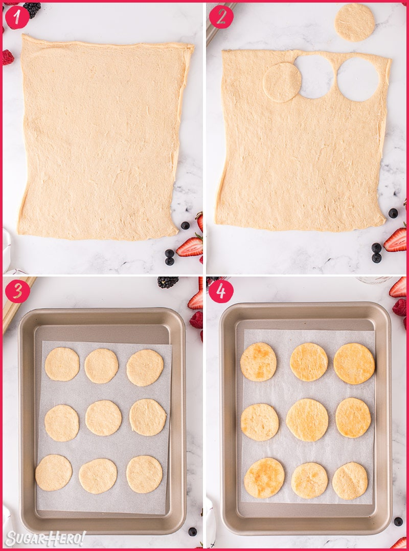 Four-photo collage showing how to make the shortcakes for Mixed Berry Shortcakes in a Jar