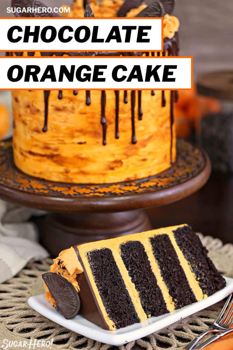 Chocolate Orange Cake photo with text overlay for Pinterest