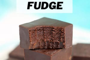 Picture of microwave fudge with text overlay for Pinterest