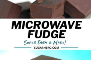 Two photo collage of microwave fudge with text overlay for Pinterest
