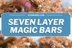 Two-photo collage of Seven Layer Bars with text overlay