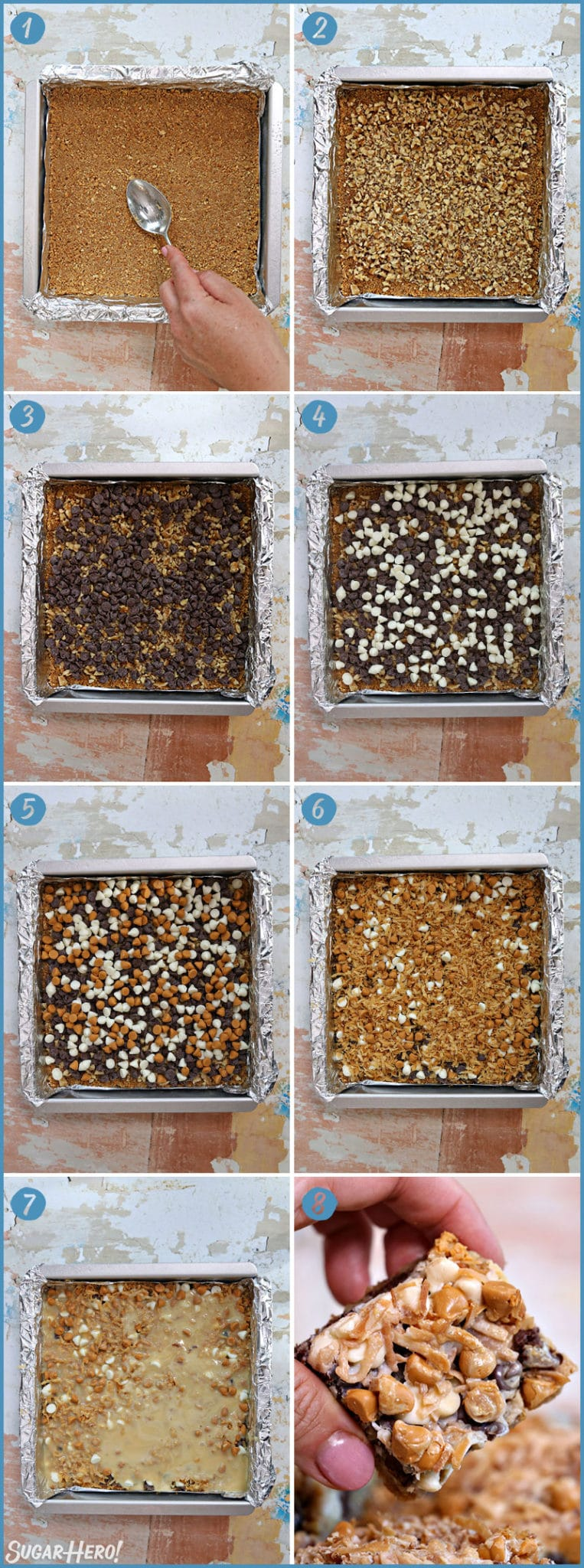 Eight photo collage showing how to assemble Seven Layer Cookie Bars