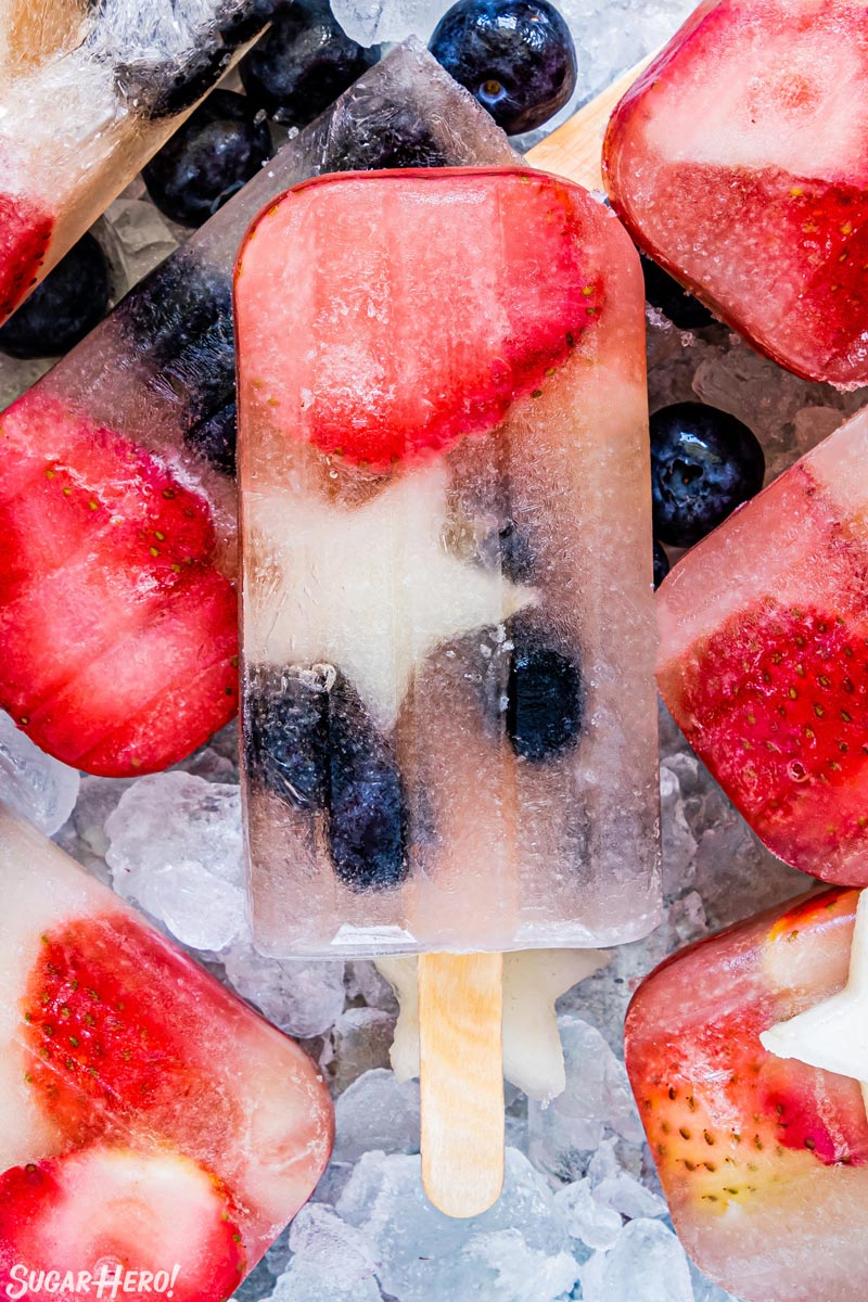 Close-up of Homemade Fruit Popsicle with sliced fruit frozen inside