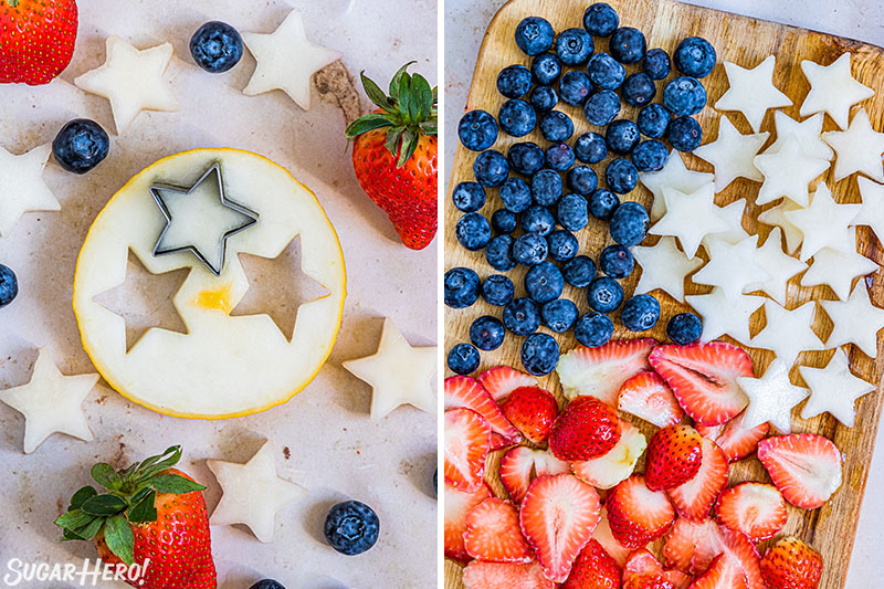 Two-photo collage showing how to prepare the star-shaped fruit for Homemade Fruit Popsicles