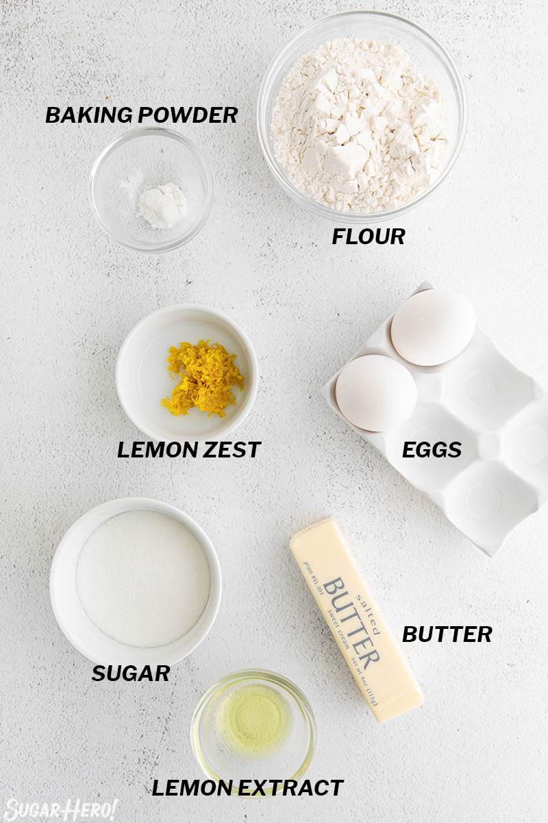 Overhead shot of the ingredients needed for Lemon Madeleines