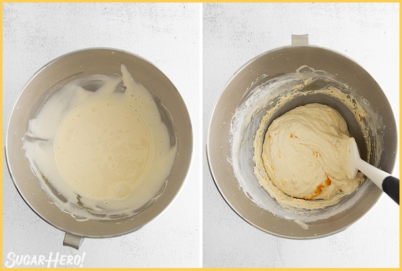 Two photo collage showing how to make the batter for Lemon Madeleines
