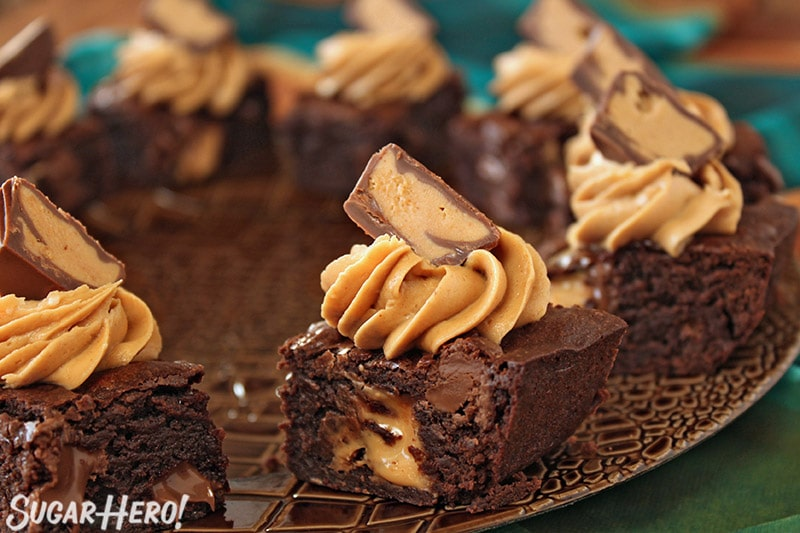 Peanut Butter Cup Brownies on a brown platter