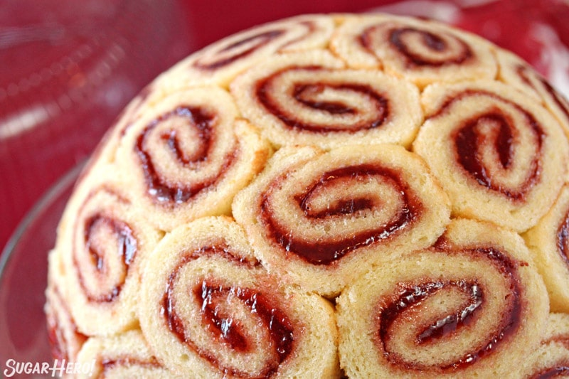 Close-up of Swiss rolls filled with strawberry jam
