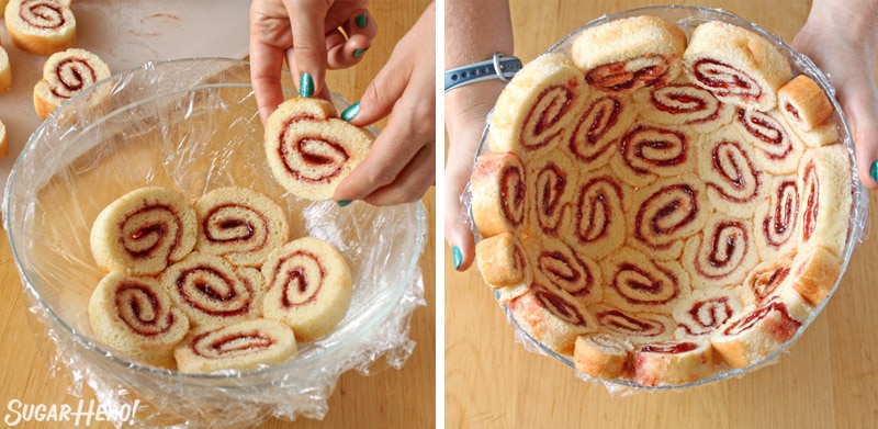 Two-photo collage showing how to arrange Swiss cake rolls