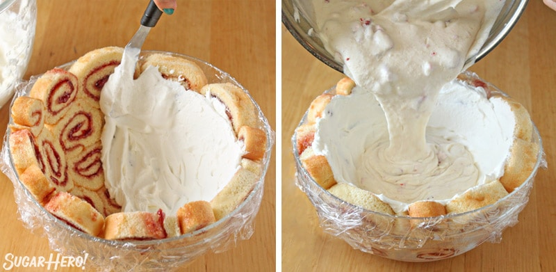Two-photo collage showing how to fill the cake with cream