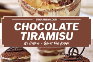 Two photo collage of Chocolate Tiramisu with text overlay for Pinterest