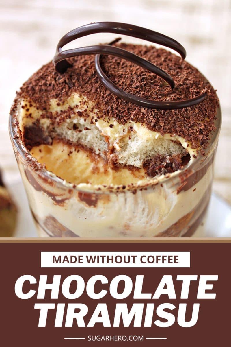 Photo of Chocolate Tiramisu with text overlay for Pinterest