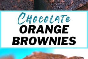 Photo collage of plated chocolate orange brownies,