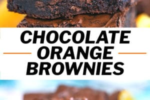Photo collage of plated chocolate orange brownies.