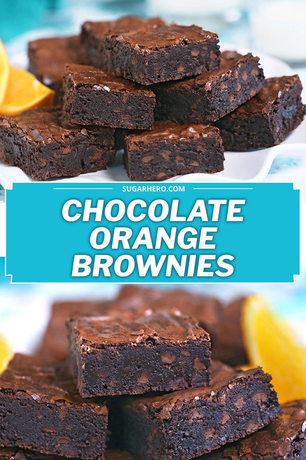 Pile of six chocolate orange brownies on a white plate.