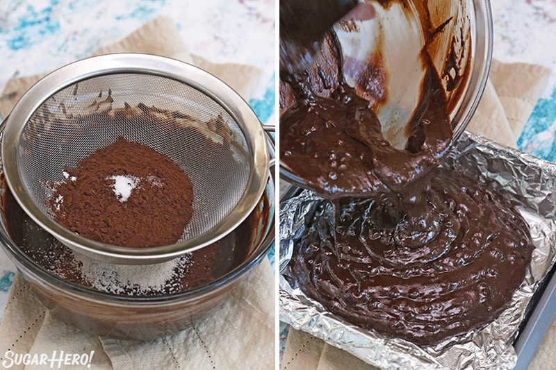Photo collage showing sifting and pouring chocolate orange brownie batter.